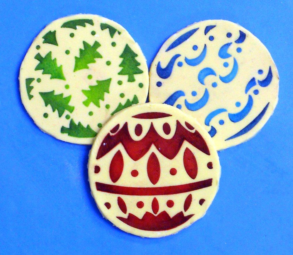 color beige//semitransparente Plantillas de dise/ño C244 Mini bolas de Navidad galletas y cupcakes