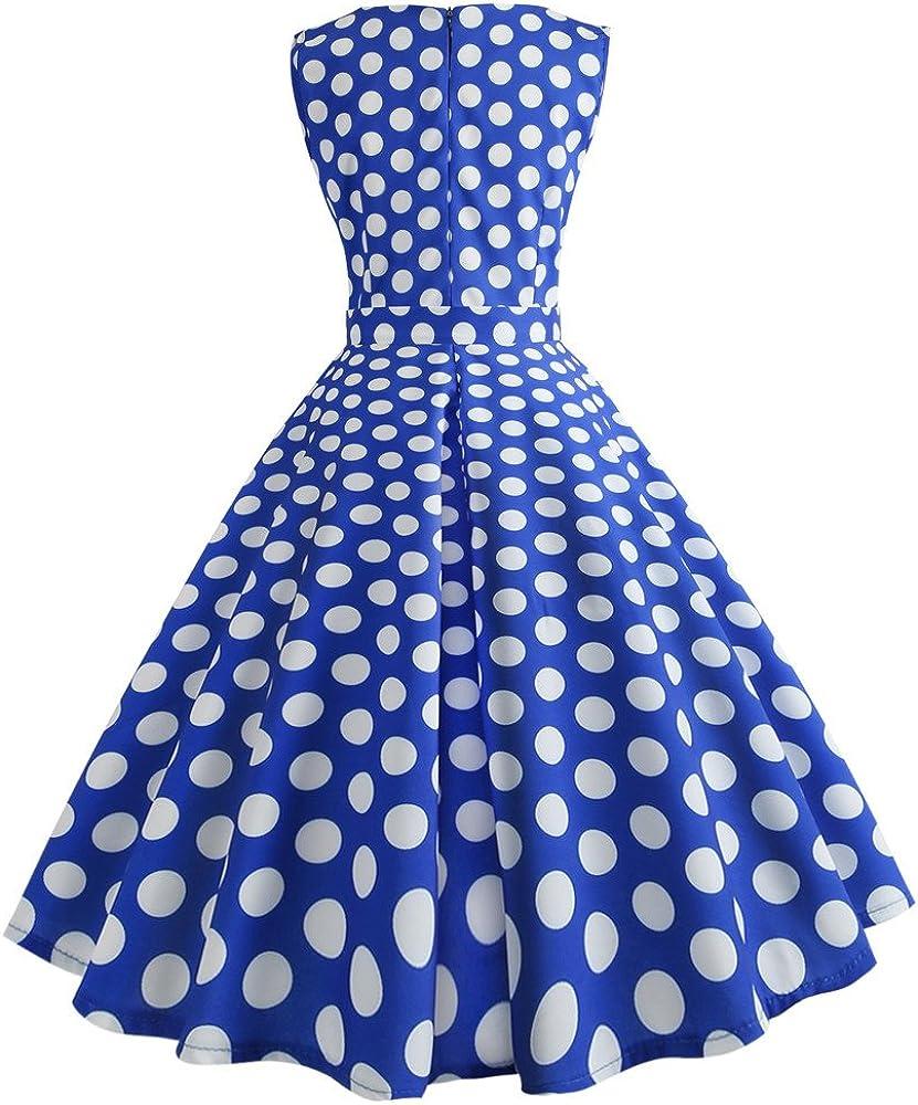 Long Dresses for Women,Women Vintage Dot Printing Sleeveless Mesh Patchwork Evening Party Swing Dress