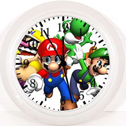 Reloj de pared con diseño de súper Mario Bros, de 25,4 cm color