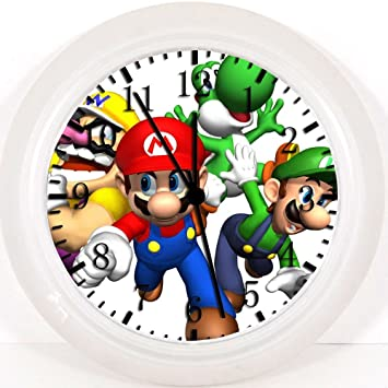Reloj de pared con diseño de súper Mario Bros, de 25,4 cm color y para pared W19: Amazon.es: Hogar