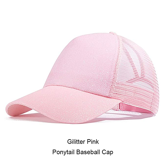 021a56e6d2e Image Unavailable. Image not available for. Color: HANBINGPO 2019 Ponytail  Baseball Cap Women Messy Bun Snapback Summer Mesh Hats Casual Sport Sequin  Caps