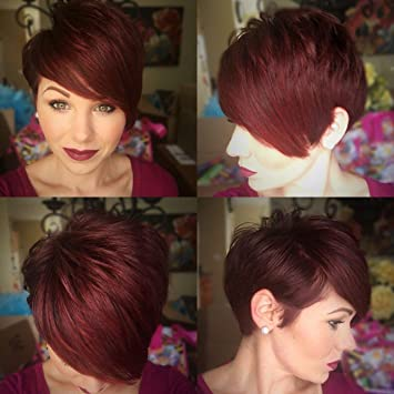 Amazon.com   BeiSD Short Burgundy Pixie Cut Hair Wigs For Women Natural  Short Wig Cosplay Wig Short Red Wigs For Black Women Heat Resistant  Synthetic Wig ... ab2c27c40