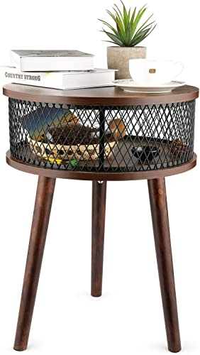 BATHWA Industrial Round End Table, Side Table with Metal Storage Basket, Vintage Accent Table, Wooden Look Furniture with Metal Frame, Easy Assembly Brown