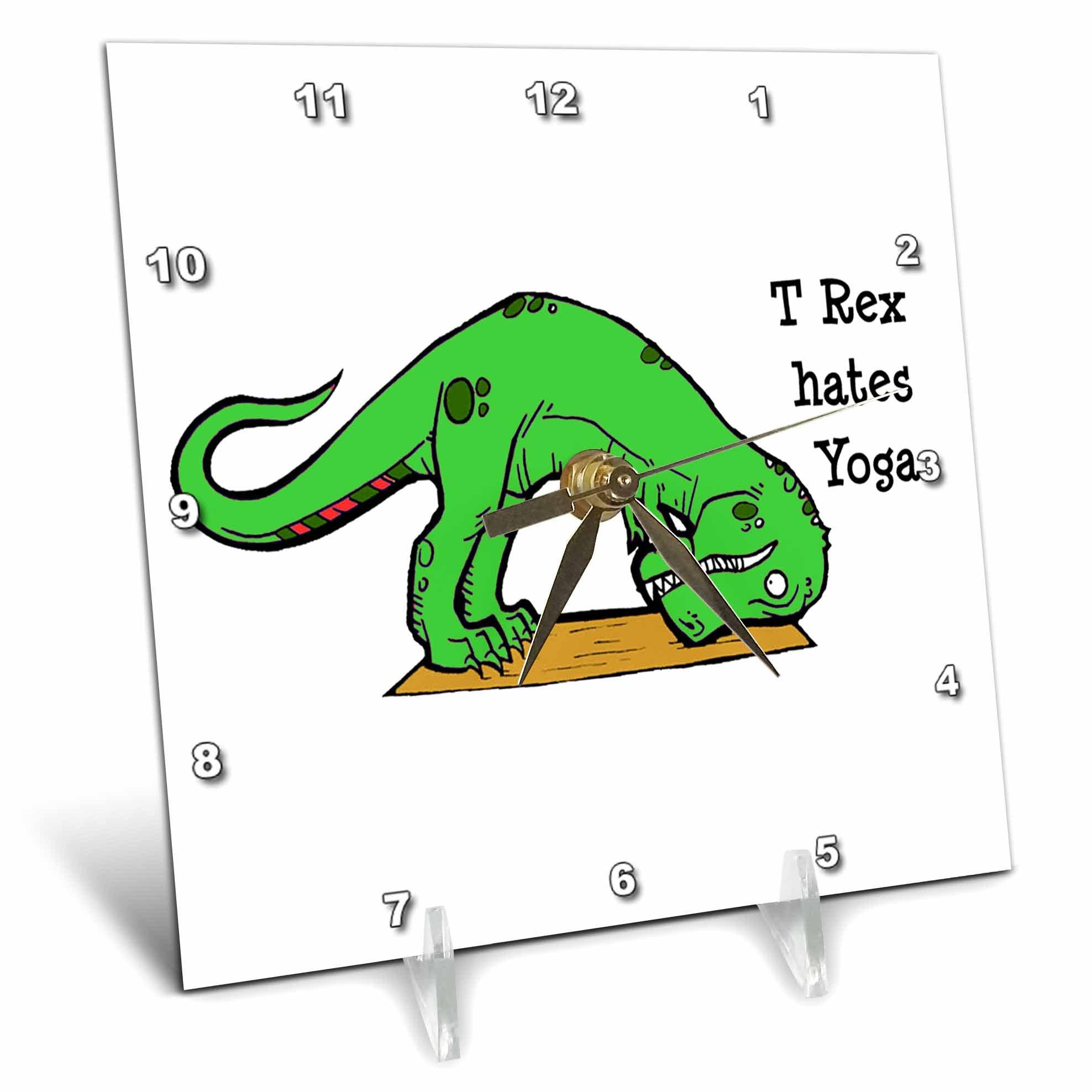 3dRose dc_193329_1 T Rex Hates Yoga, Desk Clock, 6 by 6''