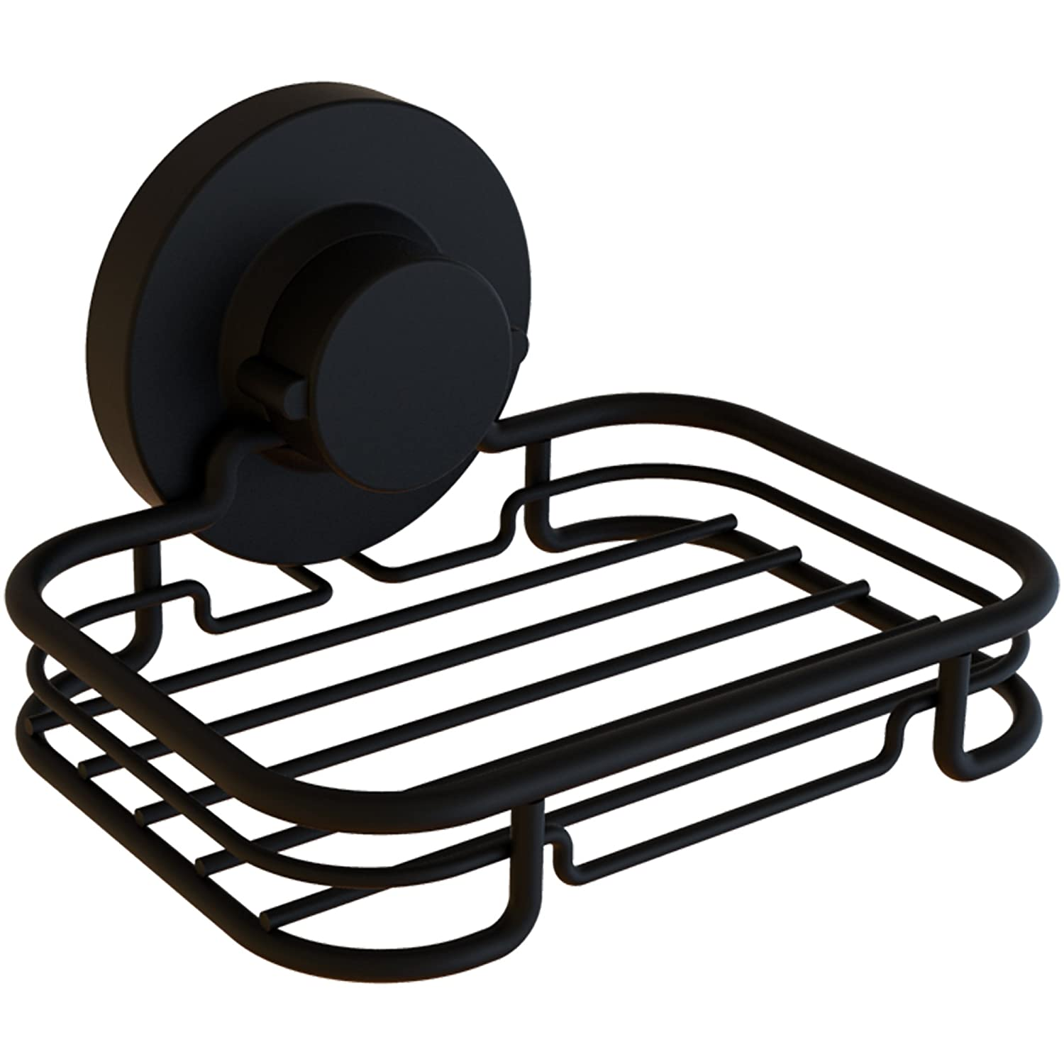 Gecko-Loc Rustproof Black Vacuum Suction Soap Dish Holder for Shower or Bath, Sponge Holder Sink Organizer - Easy Installation and No Drilling Stainless Steel Pinnacle Brands SHB-001