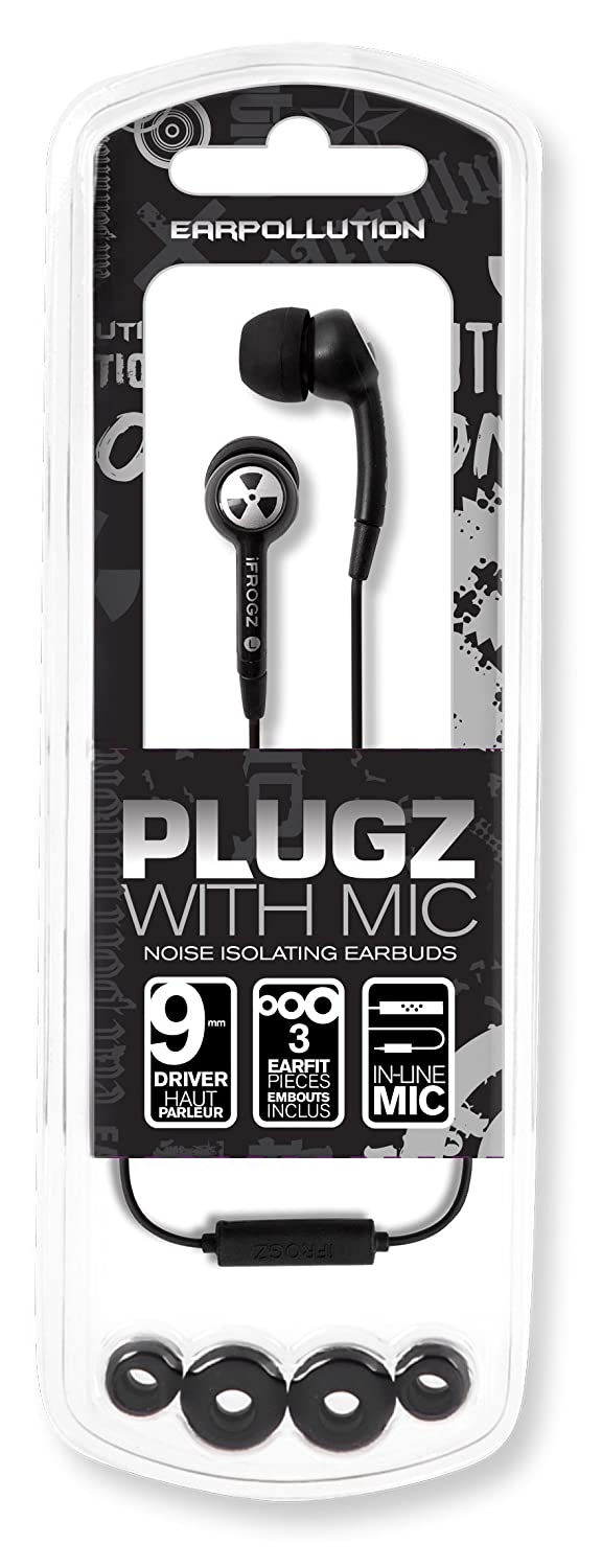 0587ddce9e1 Amazon.com: iFrogz EarPollution Plugz Earbuds with Mic - Black  (Discontinued by Manufacturer): Home Audio & Theater