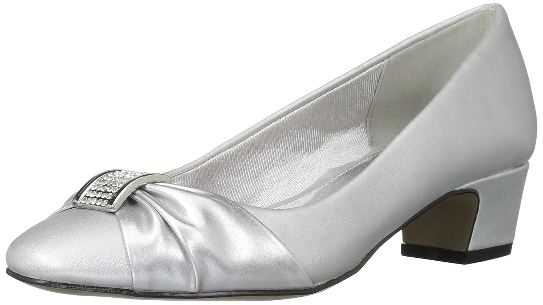 Easy Street Women's Eloise Dress Pump B072M2S7DN 10 W US|Silver Satin/Silver Easy Flex Dance Sole
