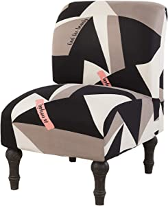 Surrui Armless Chair Slipcovers Stretch Furniture Protector Covers Removable Washable for Home Hotel (Black White Geometric)