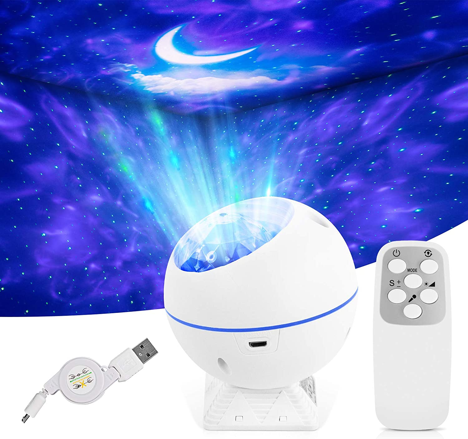 LED Night Light Projector 3 in 1 Galaxy Projector Sky Star Projector with Moon/Nebula Cloud/Star, Home Theater Lighting, or Bedroom Night Light Mood Ambiance