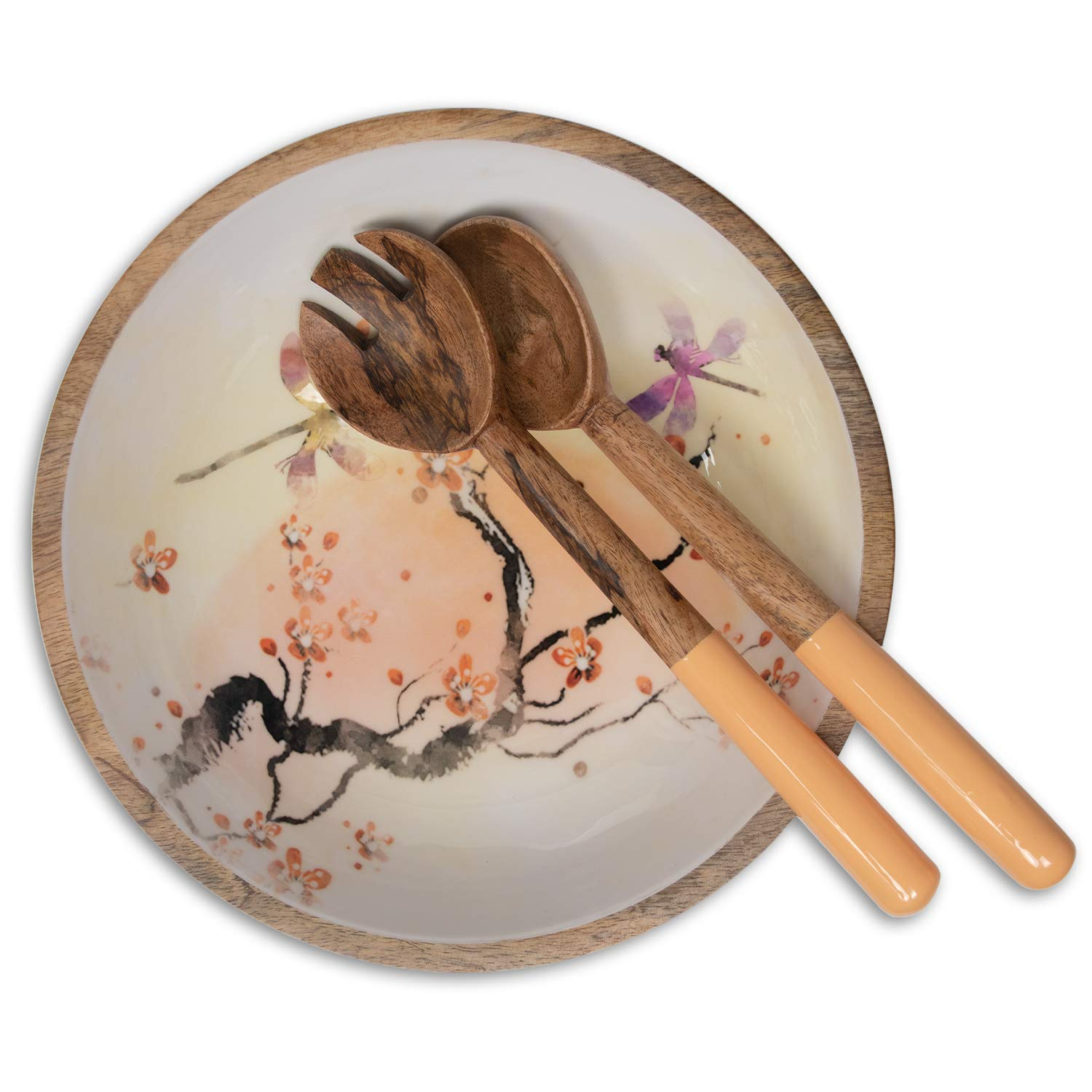 Wood Salad Bowl Set with Servers - Large 12 Inch Round Mango Wood Serving Bowl with Spoons for Soups, Fruit, Pasta, Caesar, Tossed, and Mixed Salads | Natural Mango Wood Serving Bowl Set by ELEETS COLLECTION (Image #3)