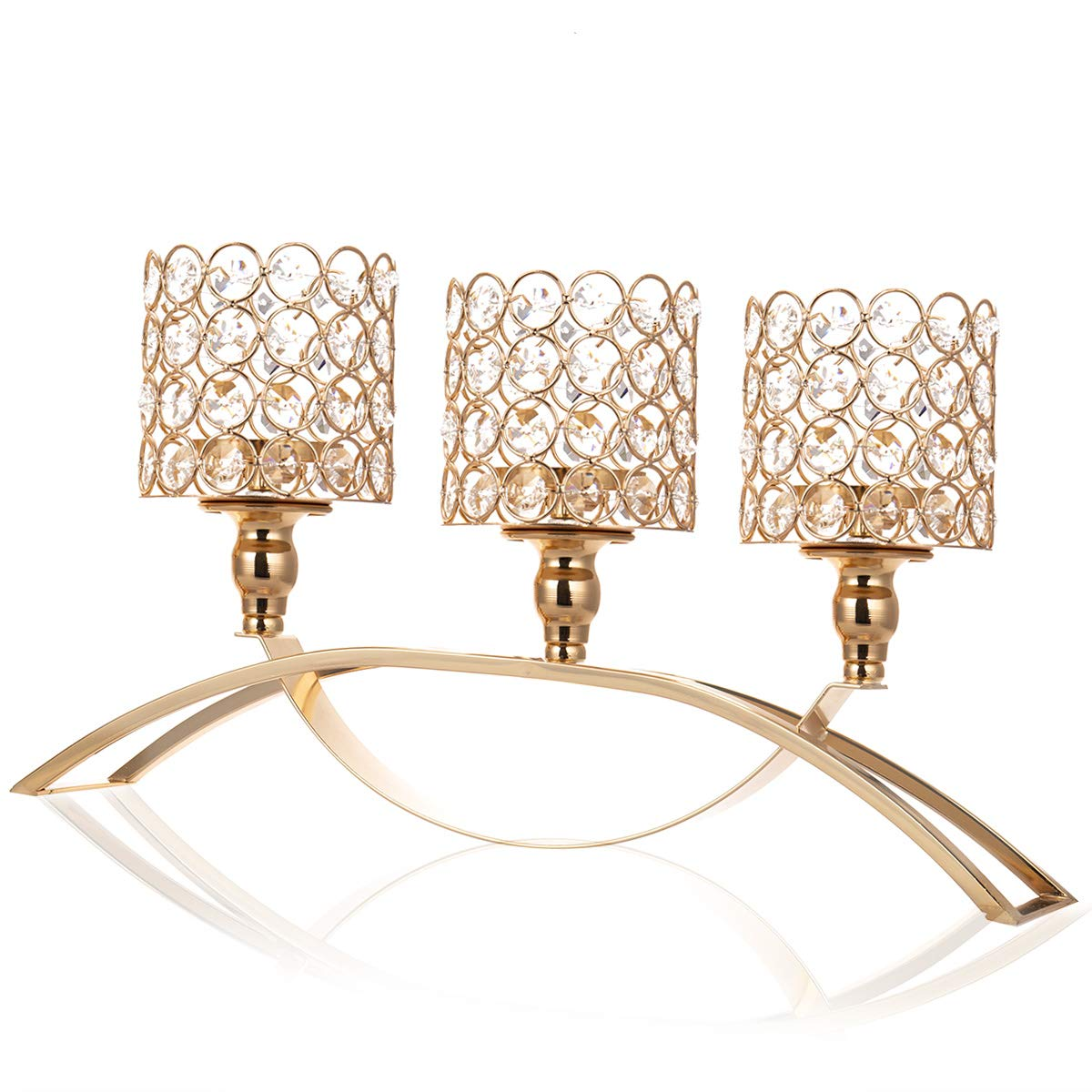 ManChDa Valentines Gift 3 Arms Crystal Gold Candle Holders Sleeve for Wedding Table Centerpieces Home Decoration Gifts for Christmas Thanksgiving (Gold)