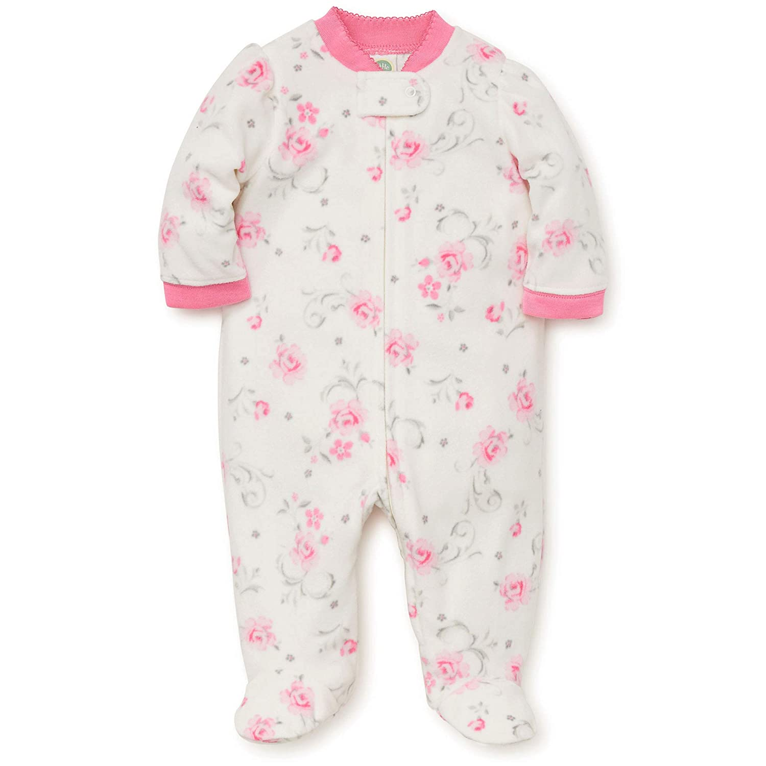 Amazon.com: Little Me Warm Fleece Baby Pajamas Footed Blanket Sleeper Footie Rose Ivory 3 Months: Baby