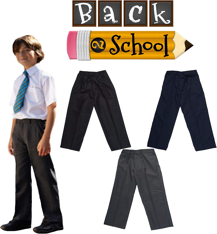 Vanilla Inc Kids School Uniform Boys New Budget Elasticated Waist Zip /& Clip Pants Trousers 3-11 Years