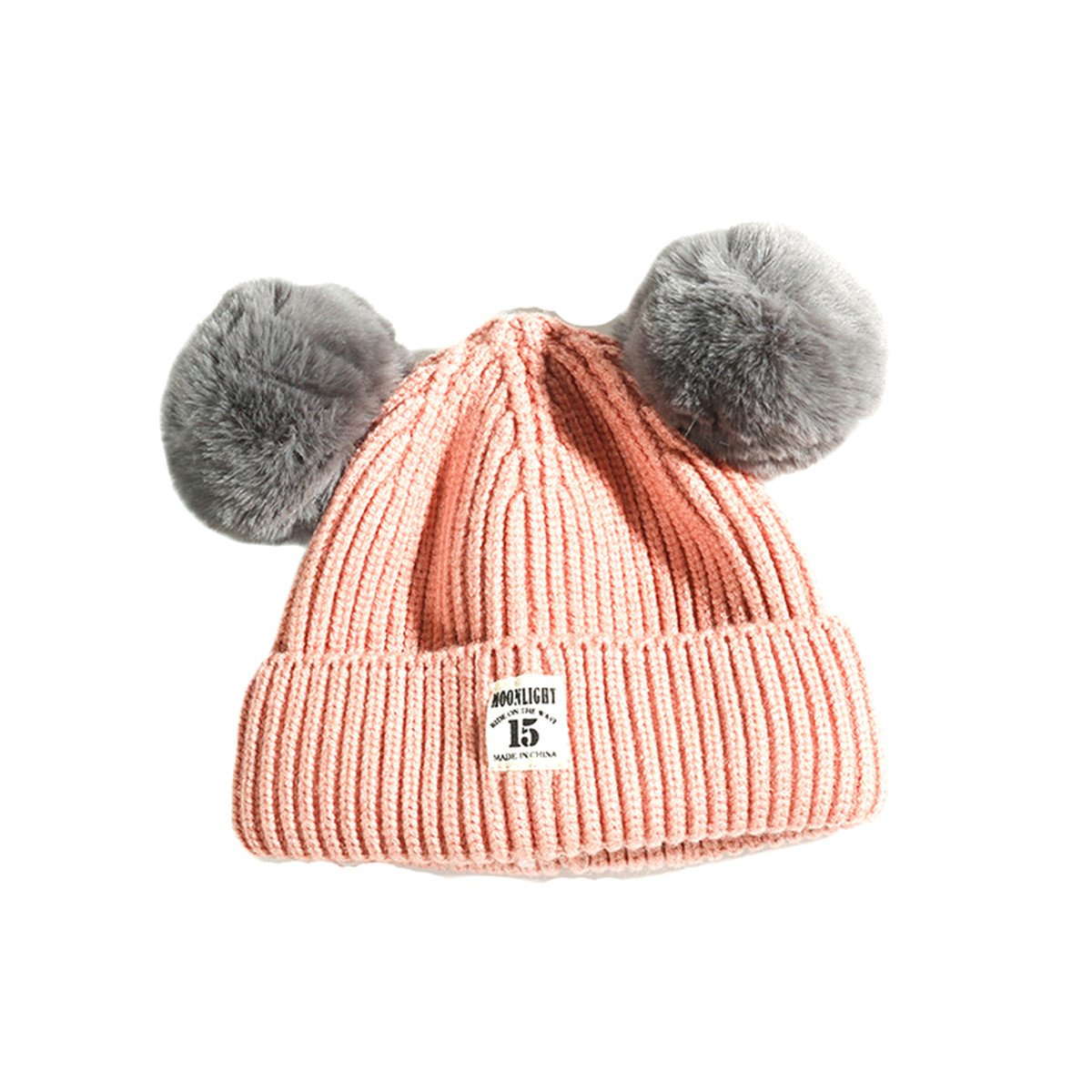 6d7ab236f0e Amazon.com  Fashion Winter Warm Cute Fur Ball Ears Knitted Toddler Beanie  Hat for Baby Boys Girls  Clothing