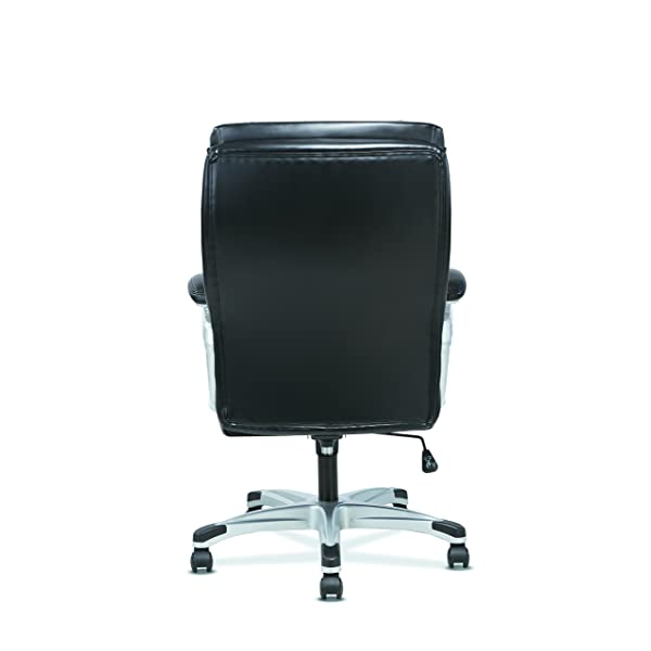 HON Sadie Executive Computer Chair- Fixed Arms for Office Desk, Black Leather (HVST315)