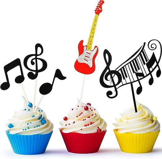 Boao 8 Piezas Tarjeta de Magdalena de Notas Musicales, Topper de ...
