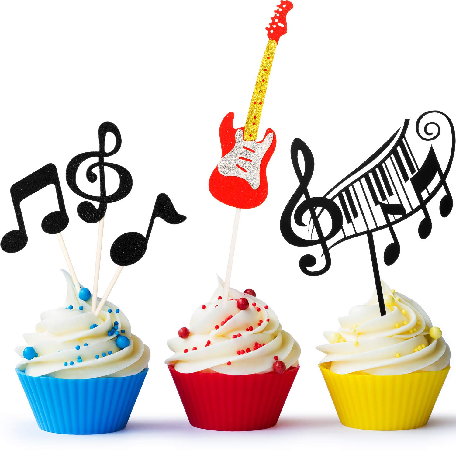 Swell 8 Pieces Music Notes Cupcake Toppers Guitar Cake Toppers Musical Personalised Birthday Cards Akebfashionlily Jamesorg