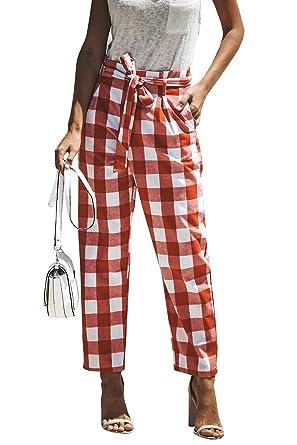 Pantalons Femme Printemps Automne Pantalons Jogging Fashion Vintage Slim  Fit Pantalon De Loisirs Ceinture Carreaux Deux Poches De Pantalon Spécial  Style ... 31eb18284f8