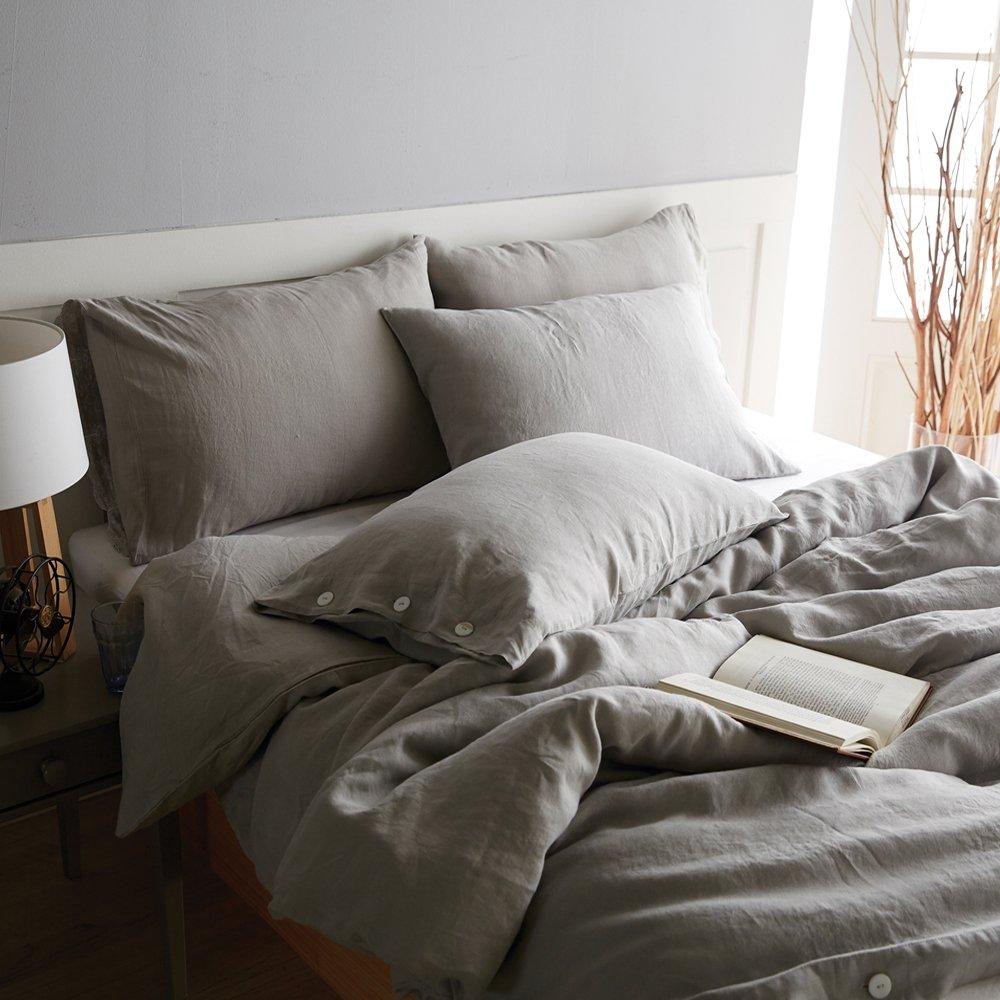 Vintage-Bettbezug-Set aus 100 % Leinen von Merryfeel, ausgewaschene Optik, grau, (Single Set)137x200+50x75cm