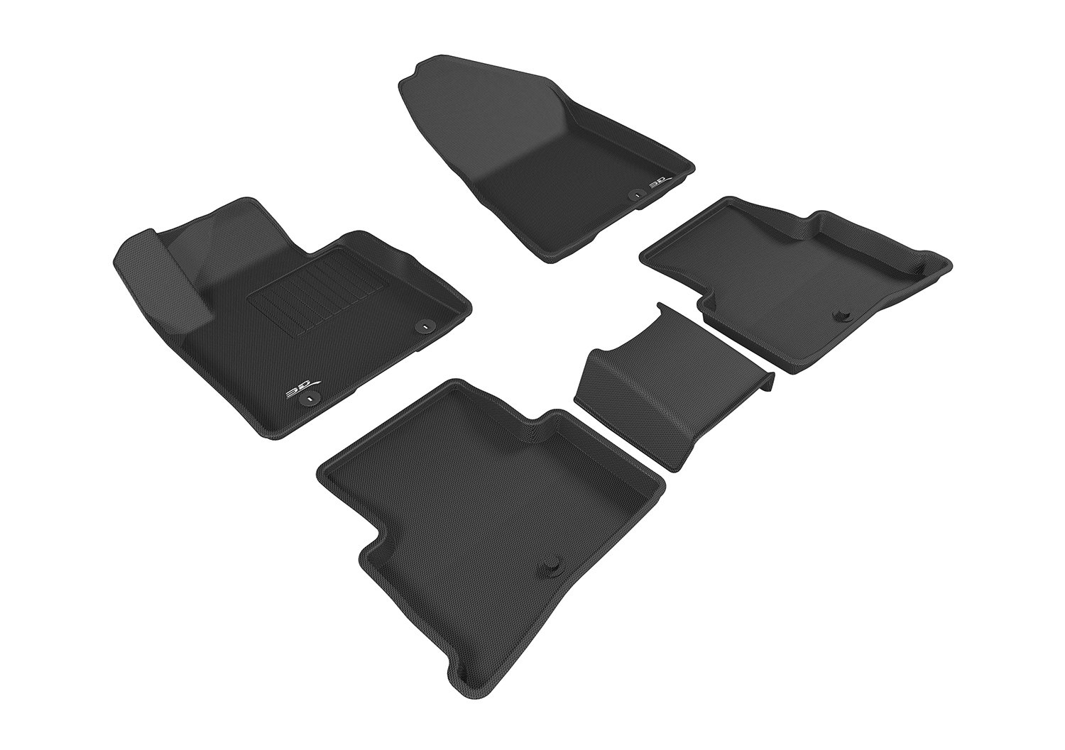 3D MAXpider Complete Set Custom Fit All-Weather Floor Mat for Select Kia Sportage Models Black Kagu Rubber
