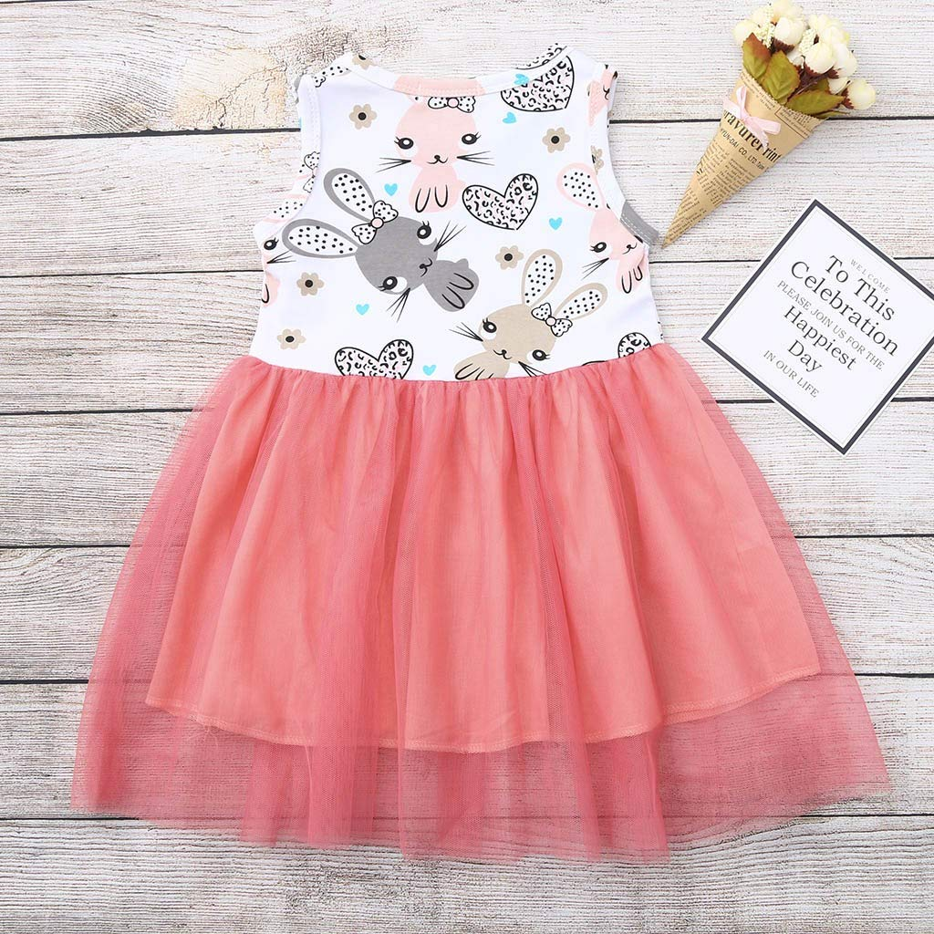 18-24 Months, Pink BSGSH Newborn Baby Girls Sleeveless Tulle Tutu Dress Skirt Outfits Casual Bunny Print Girls Clothes