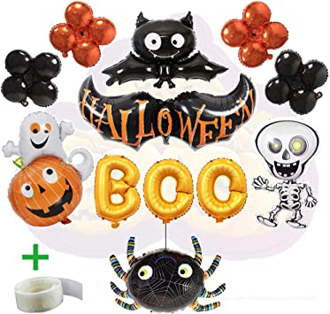 Decoración de Halloween, 12 Pack Kit, que incluye BOO Banner Foil Letter Balloon para artículos de fiesta, Black Bat ...