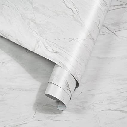 rabbitgoo Carta Adesiva per Mobili Effetto Marmo Grigio PVC Impermeabile  44.5 x 200cm Adesivi Mobili Anti-umiltà Pellicola Decorativa per Rinnovare  ...