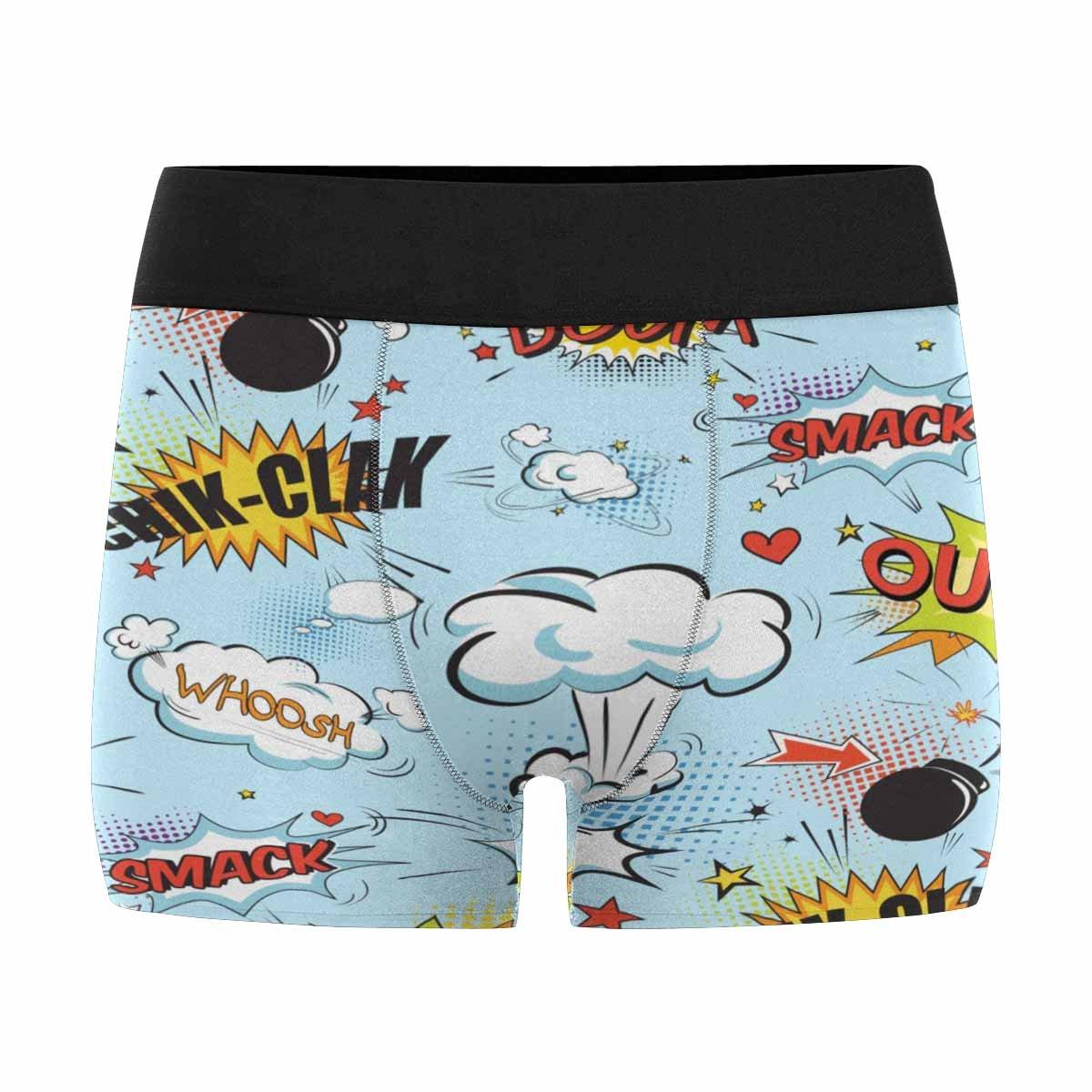 INTERESTPRINT Mens Boxer Briefs Underwear Comic Speech Bubbles in Pop Art Style with Bomb Cartoon XS-3XL