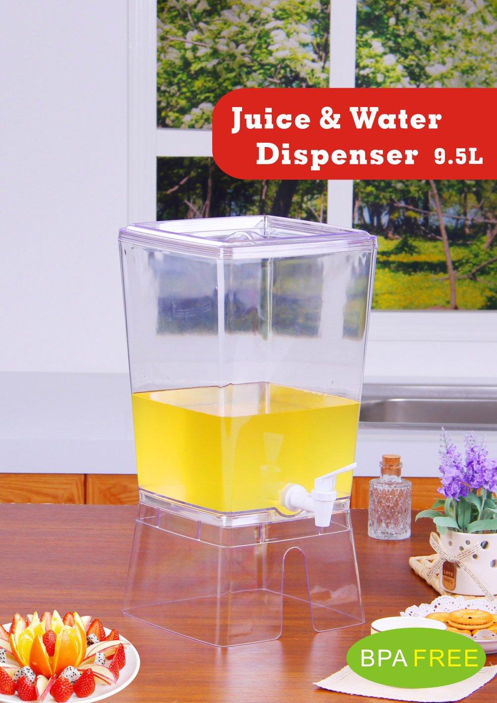 Palacio vajilla elegante cuadrado zumo y dispensador de agua con soporte - sin BPA: Amazon.es: Hogar