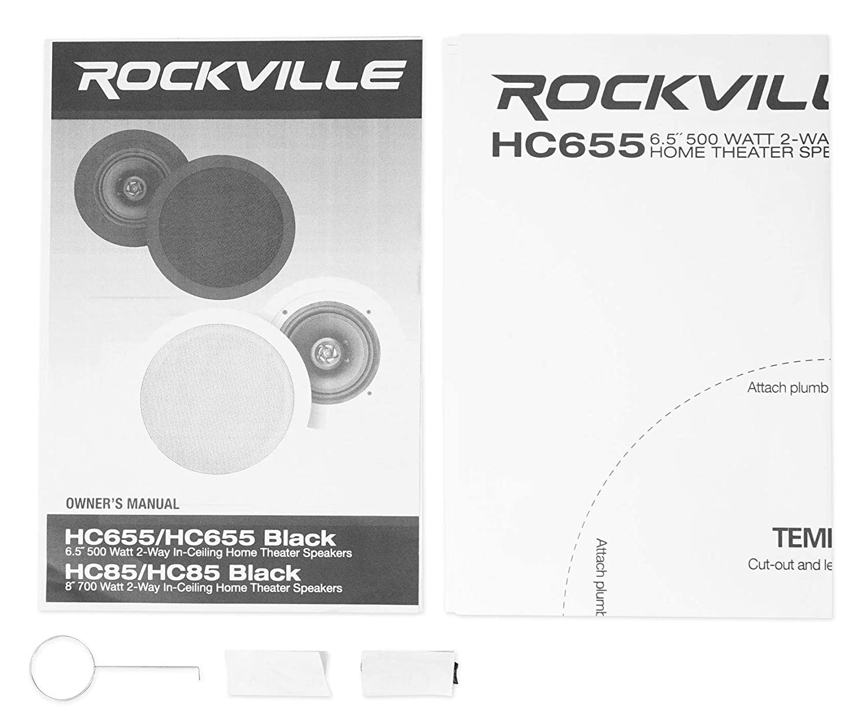 Pair Rockville HC655 6.5 500 Watt In-Ceiling Home Theater Speakers 8 Ohm