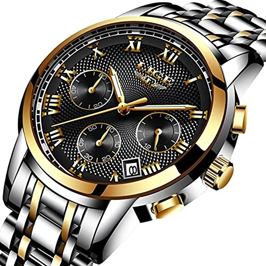 Amazon Com Mens Watches Waterproof Chronograph Stainless Steel