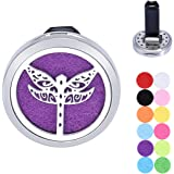 Dragonfly Aromatherapy Car Air Freshener Stainless Steel Essential Oil Diffuser Locket Vent Clip 12 Refill Pads