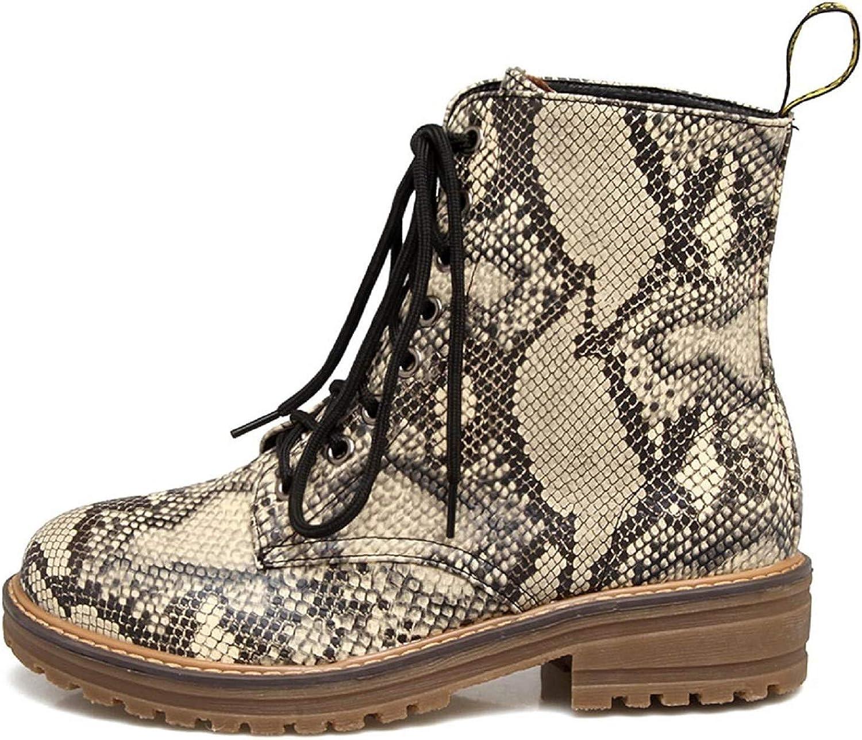 Women Snakeskin Print Boots,Tsmile Flat
