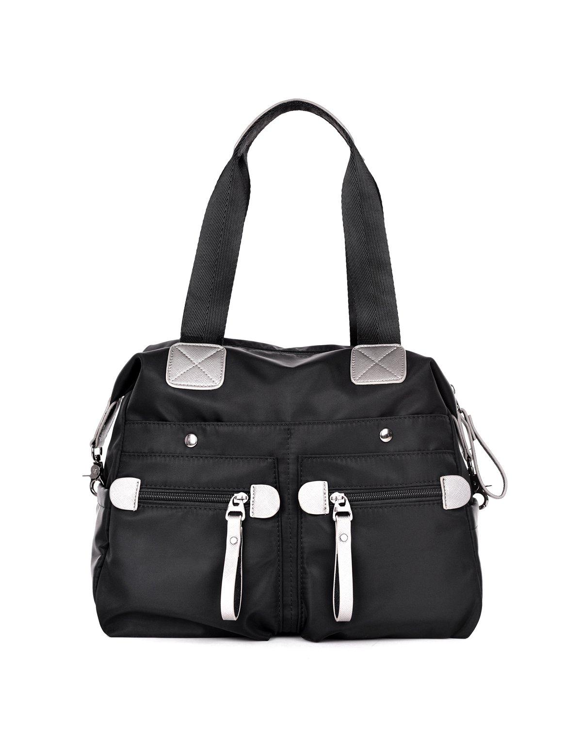 DOURR Women's Messenger Bag Tote Bag Shoulder Bag Oxford Nylon Waterproof Crossbody Bags (black)