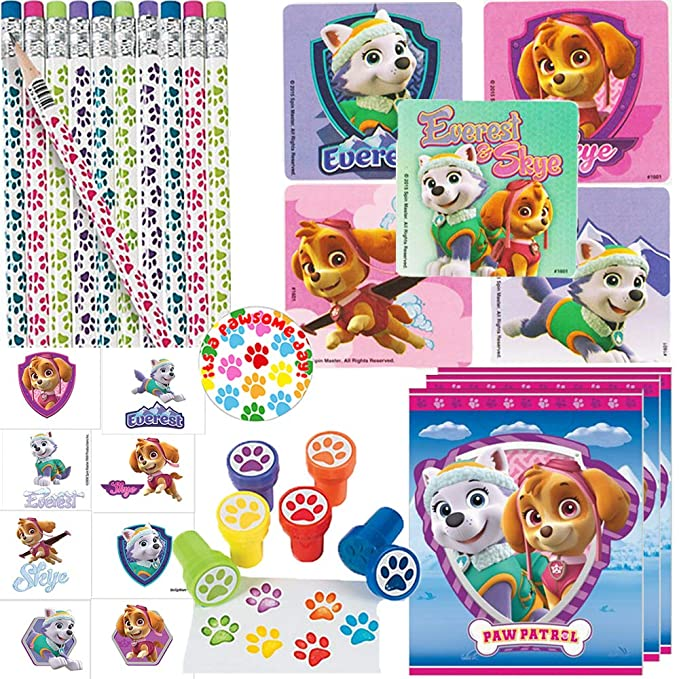 Girl Paw Patrol Birthday Party Favors Pack With Goodie Bags For 12 Guests With Paw Stampers, Girl Paw Patrol Stickers, Tattoos, Paw Pencils, Girl Paw Patrol Goodie Treat Bags, and Exclusive Paw Pin