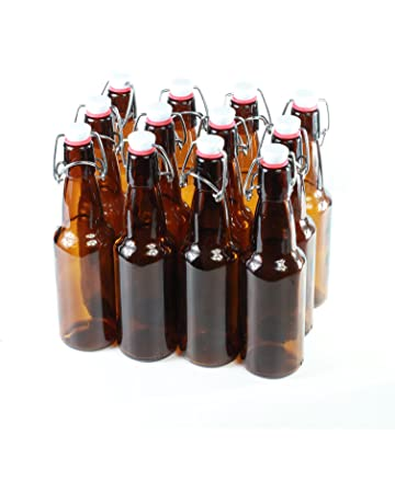 Botellas con tapón mecánico - 12 botellas con tapón mecánico para cerveza de cristal marrón
