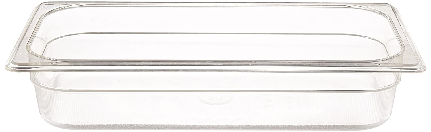 Rubbermaid Commercial Products Cold Food Insert Pan for Restaurants/Kitchens/Cafeterias, 1/3 Size, 2.5 Inches Deep, Clear (FG116P00CLR)