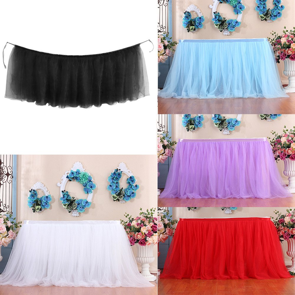 A Chinaware 4ft Tulle Table Skirt for Rectangle Tables or Round Table Fluffy Tutu Table Skirt High-end Gold Brim Table Skirting for Party,Wedding,Birthday Party/&Home Decoration