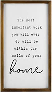 rfy9u7 Funny Modern Farmhouse Decor Sign, Cute Home Decor Wall Art, Rustic Wooden Sign with Funny Quotes The Most Important Work You Will Ever Do Harold B. Lee, 8 x 12 Inch
