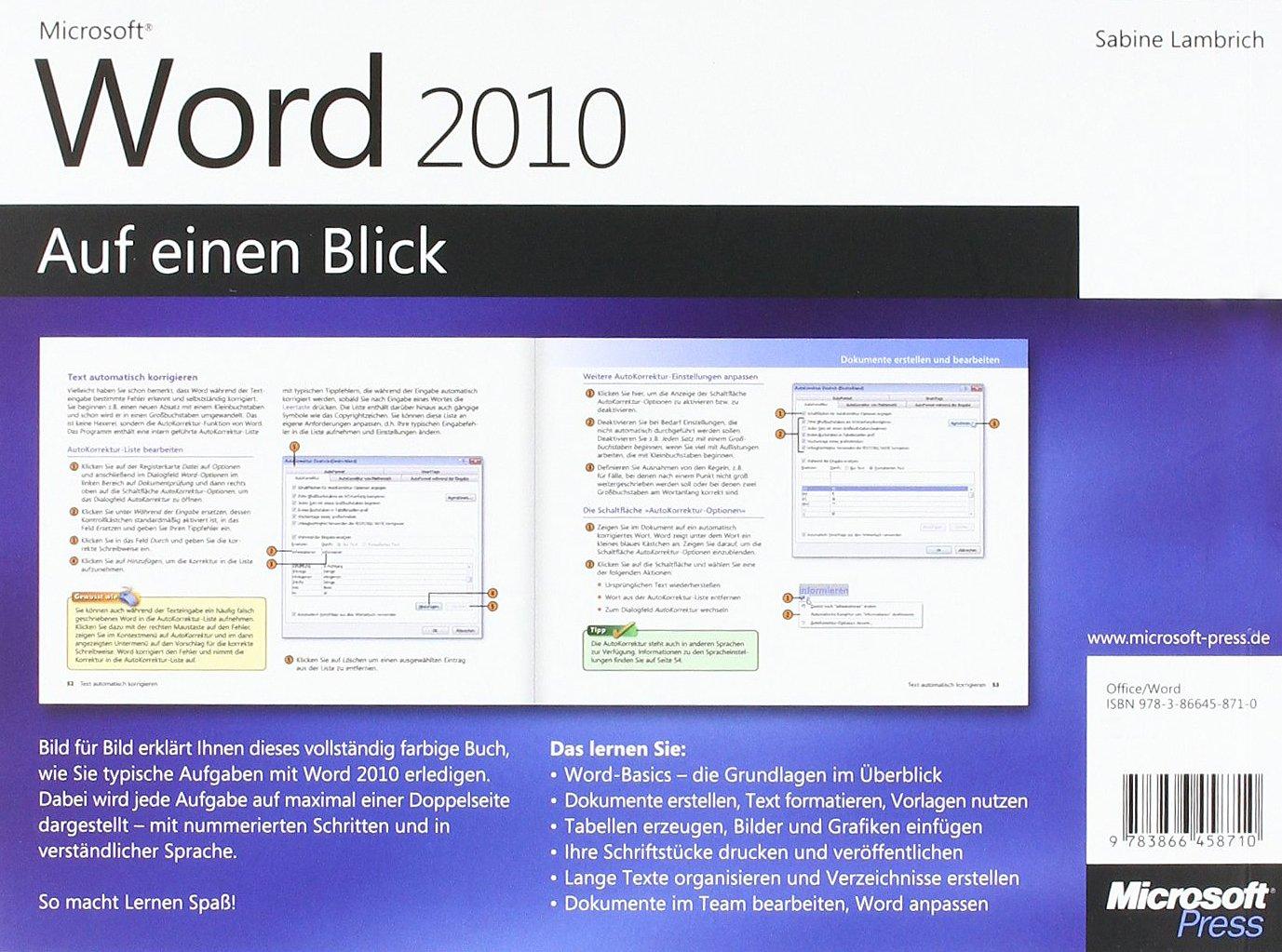 Microsoft Word 2010 auf einen Blick: Amazon.de: Sabine Lambrich: Bücher