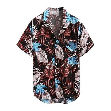 Camisa de Manga Corta para Hombre, con Estampado de Corbata ...