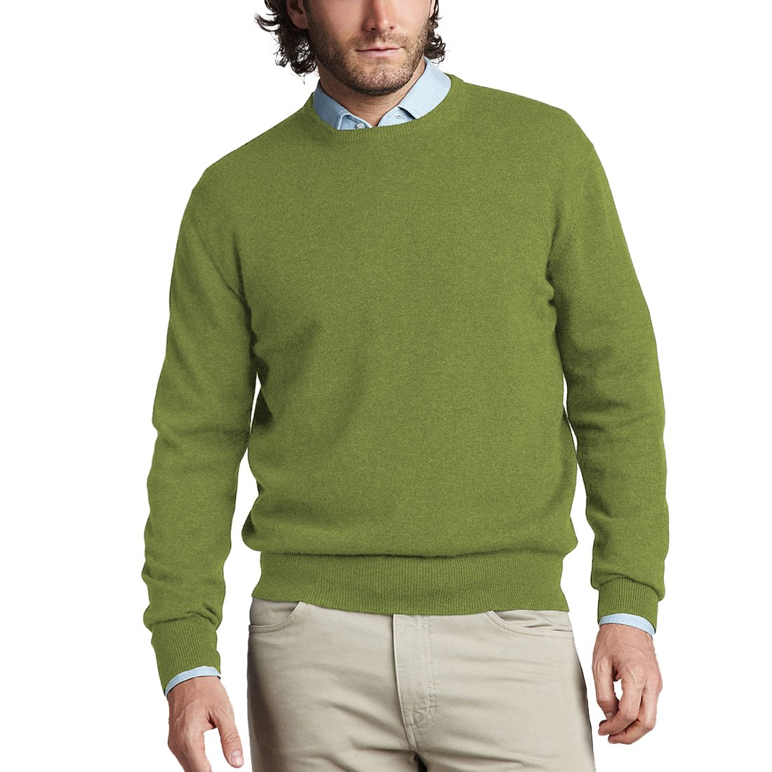 Parisbonbon Men's 100% Cashmere Crew Neck Sweater Color Grass Green Size L by Parisbonbon