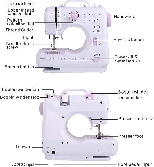 Sfeomi Mini máquina de Coser portátil eléctrica de 12 Puntos ...