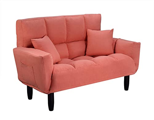 ALI VIRGO Modern Convertible Upholstered Plush Sofa,Tufted Settee Bedroom Bench,Chair Full Size Sleeper Bed with Support Legs,for Living Room, Loft,Apartment, Vitality Orange