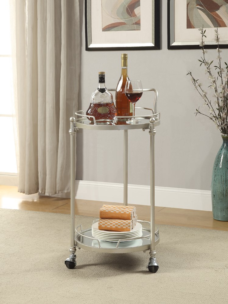 Silver mirrored bar cart