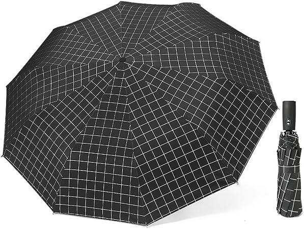 Comeyang Paraguas Compacto y a Prueba de Viento Que Abre y Cierra automáticamente el Paraguas Plegable,Paraguas automático Enrejado Triple plástico Negro Protector Solar color7 100cm: Amazon.es: Hogar