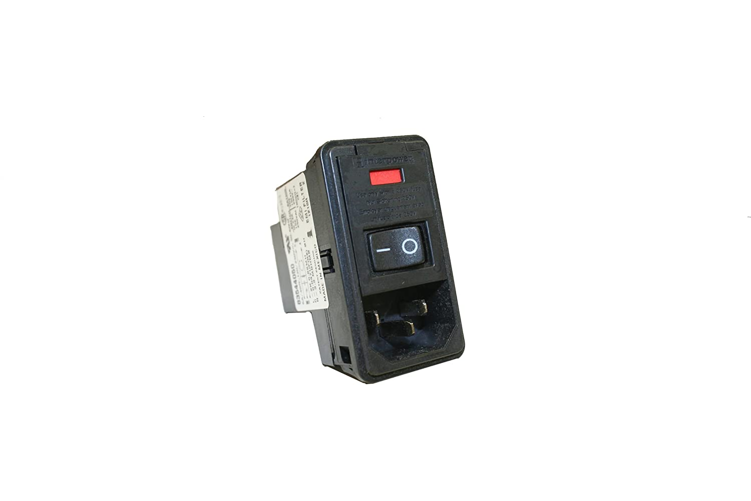 120//250VAC Voltage Rating 10A Current Rating Interpower 83544030 Four Function Double Fused Screw Mount Module C14 Inlet Double Fused Switch Voltage Selector