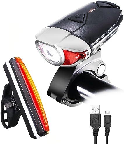 3 LED USB Rechargeable Bike Light Set Super Bright Bike Lights Front and Back