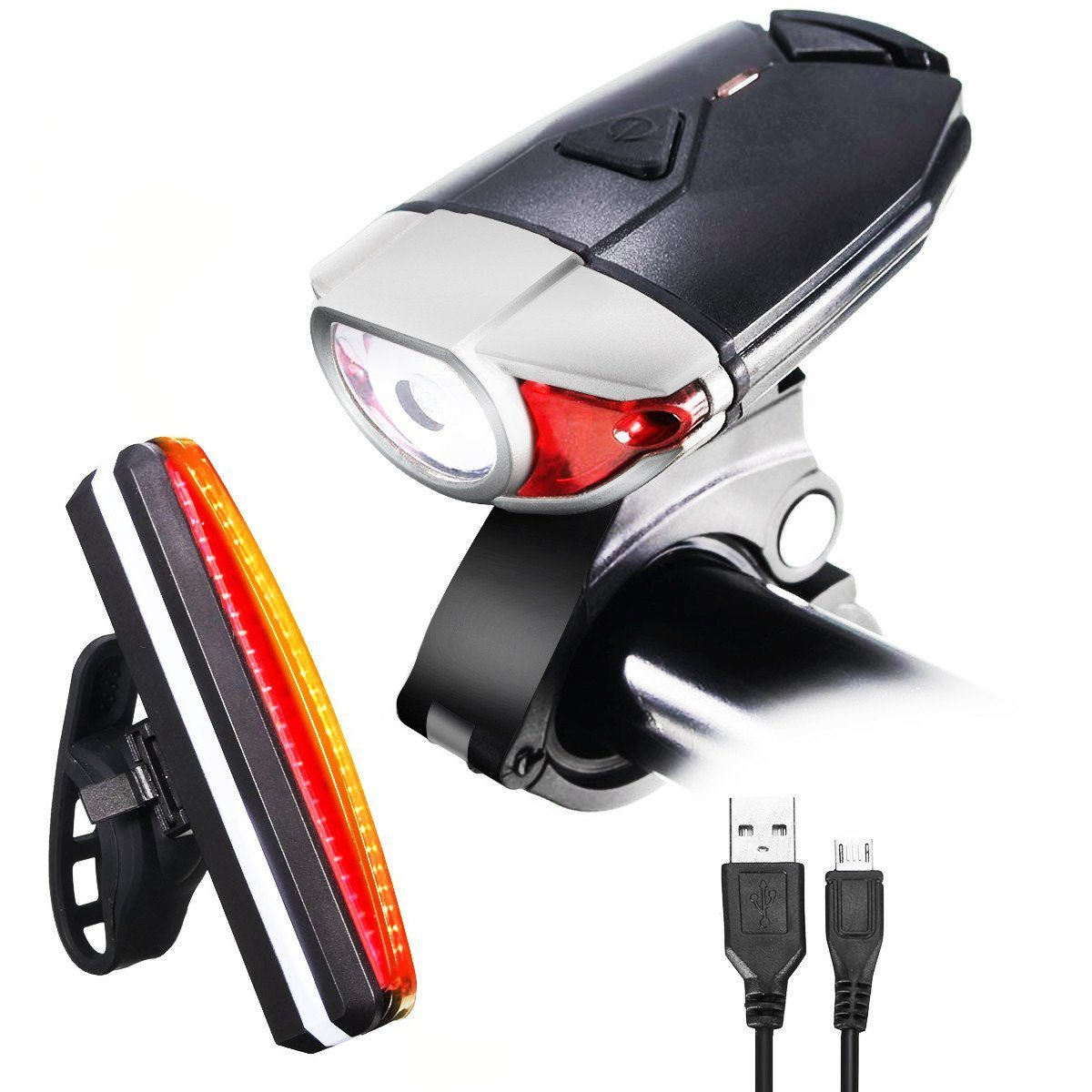 CAMTOA Bicycle Lights, Rechargeable LED Front and Rear Bike Light Set – Super Bright 250 LM LED Bicycle Light Set with 3 Light Mode Options – 2 X USB Cable