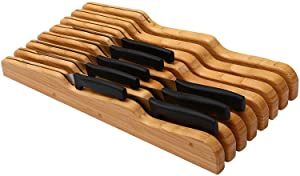 "YBM Home in Drawer Bamboo Kitchen Knife Storage Block, Knife Organizer and Holder 317 (1, 17"" x 8.75"" x 2"")"